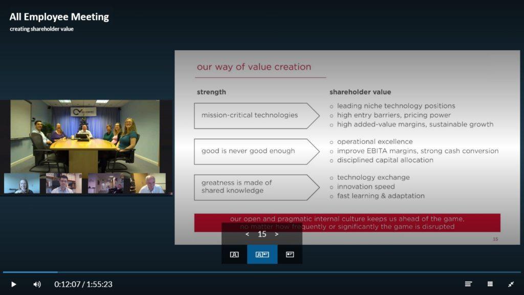 virtual conference room (VCR) Company Webcast